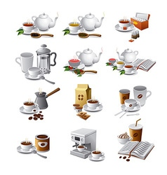 coffee and tea drinks vector image