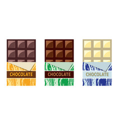 collection of dark milk and white chocolate vector image