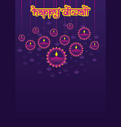 Colorful diya background diwali festival poster vector
