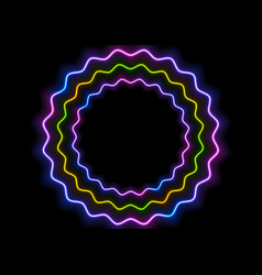 colorful glowing neon wavy circles abstract vector image