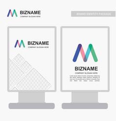 Company ads banner unique design with ml logo vector