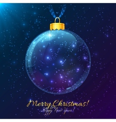 Cosmic glass ball with Merry Christmas sign vector image