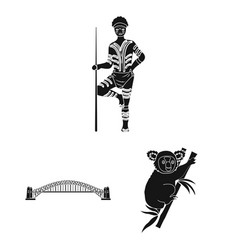Country australia black icons in set collection vector