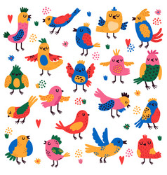 cute birds hand drawn colorful little birds vector image