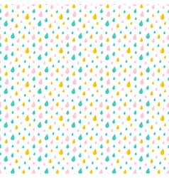 Cute little colorful water drops rain pattern vector image