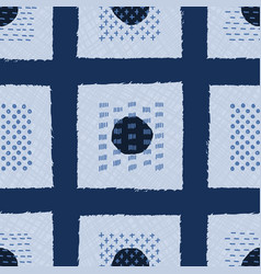 Embroidery boro patch kantha fabric pattern vector