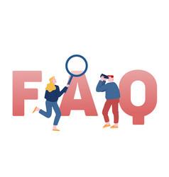 Faq service concept people with binoculars vector