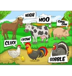Farm animals talks sound cartoon vector image
