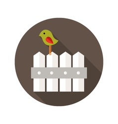 Fence with Bird flat icon vector