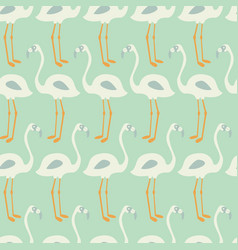 Flamingo seamless pattern on mint background vector