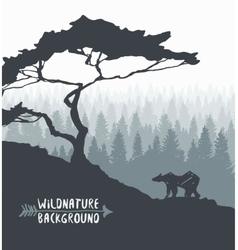 Forest pine tree bear silhouette drawn vector
