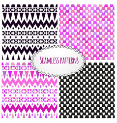 Geometric tribal aztec hand drawn background set vector