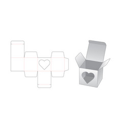 Gift box with heart shaped window die cut vector