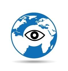 globe symbol icon surveillance design vector image