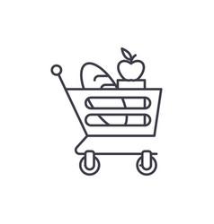 good food basket line icon concept good food vector image