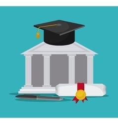 Graduation cap diploma graduate icon vector