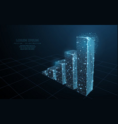 graph grows low poly wireframe mesh on dark blue vector image