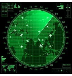 Green radar screen with planes and world map vector