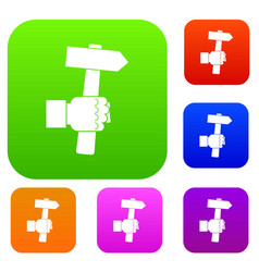 hand hoding hammer with tool set color collection vector image