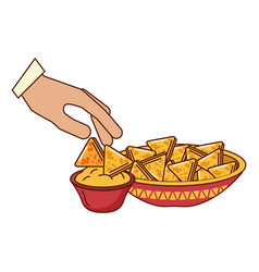 Hand with nachos on white background vector