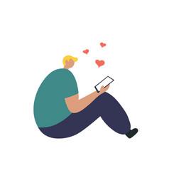 Happy boy in love talking on phone vector