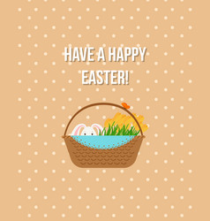 happy easter beige greeting card vector image