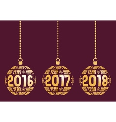 Happy New Year 2016 2017 2018 Elements vector