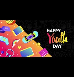 Happy youth card fun teen internet leisure vector