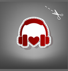 headphones with heart red icon with for vector image