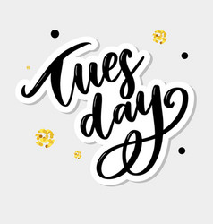 Hello tuesday words hand drawn ink lettering vector