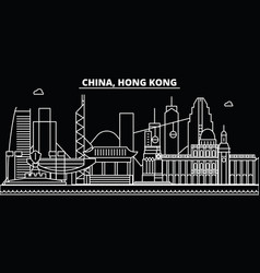 hong kong silhouette skyline china - hong kong vector image