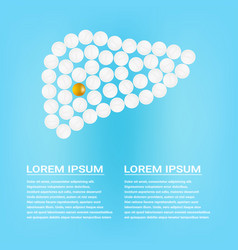 Human liver with pills isolated on a background vector