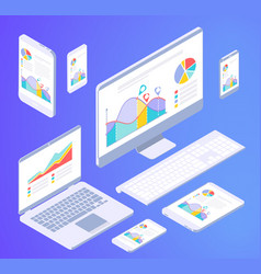 isometric busies office elements vector image