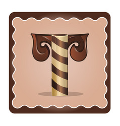 Letter t candies vector