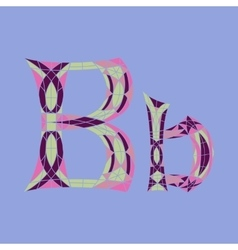 Low poly letter B in colored mosaic polygon vector