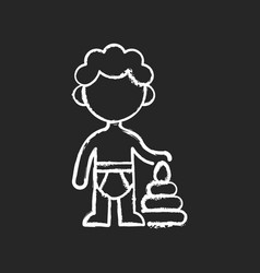 Male toddler chalk white icon on black background vector