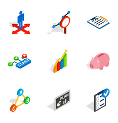 Management icons isometric 3d style vector