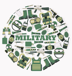 military ammunition in round frame composition vector image