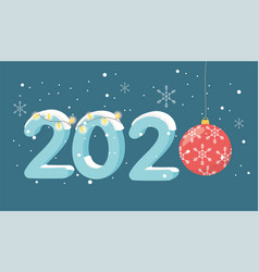 new year 2020 greeting card lights red ball vector image