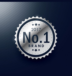 no1 brand silver badge and label design vector image