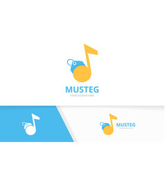 note and tag logo combination music and vector image