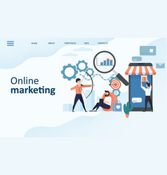 online marketing landing page template modern vector image