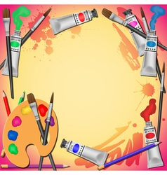 Paint tubes and brushes vector