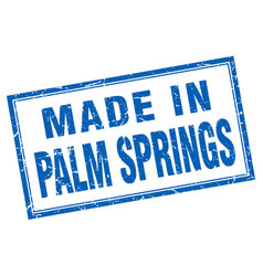 Palm springs blue square grunge made in stamp vector