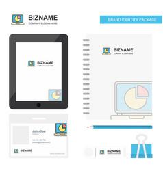 Pie chart on laptop business logo tab app diary vector