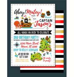 pirate birthday invitation treasure map vector image