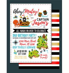 pirate birthday invitation treasure map vector image