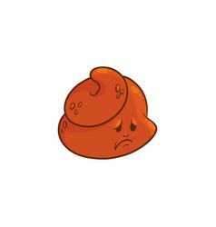 Poop cartoon character - sad and upset emoticon of vector