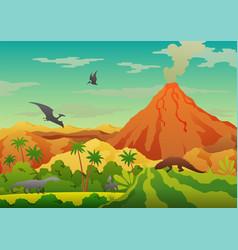 Prehistoric landscape - volcano with smoke vector
