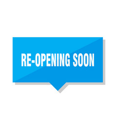 re-opening soon price tag vector image